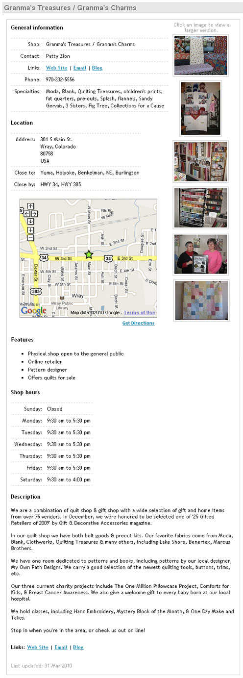 Sample Quilt Shop Locator Ad - Premium Listing