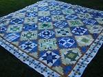 Nine-Patch Border Blue/Green Sampler Quilt