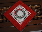 Quilted cross stitch wreath wall hanging/table topper