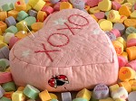 candy heart pincushion