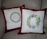 Embroidered Christmas Wreath Pillows