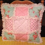 Aqua and Pink Rag Quilted Pillow