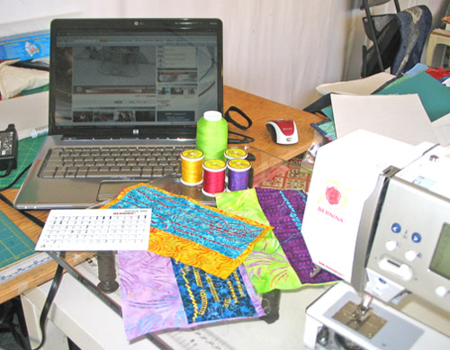 laptop and quilting