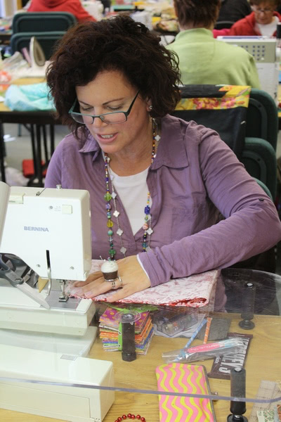 Melanie McFarland at retreat for Quilt Country column