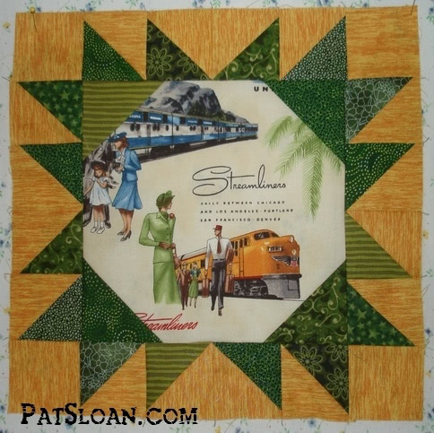 Pat Sloan train quilt block