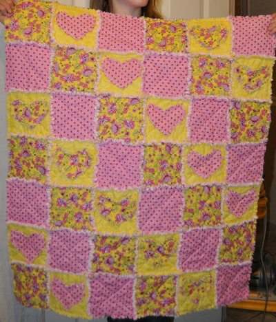 heart rag quilt
