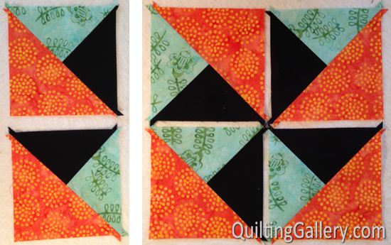 Quilt Patterns Quarter Square Triangles : Tutorial: Split Quarter-Square Triangles (SQST) - Quilting Gallery /Quilting Gallery