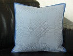 Blue wholecloth pillow