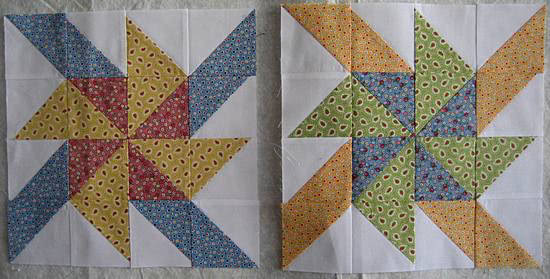 Progress on the Pinwheel Sampler Quilt Blocks